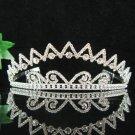 wedding tiara bridal accessories crystal silver headpiece, elegance regal imperial comb 0881