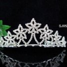wedding tiara bridal accessories silver crystal star headpiece ,handmade regal imperial comb 568