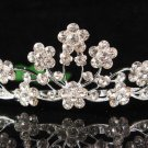 Bridal accessories wedding floral tiara,silver handmade crystal headpiece regal imperial comb 1311