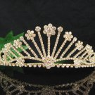 Bridal accessories wedding hair tiara,floral crystal headpiece,golden regal imperial comb 018G