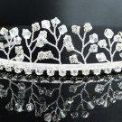 Bridal accessories; wedding hair tiara,handmade silver crystal pearl headpiece imperial; comb 8642