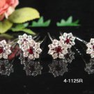 6 pc handmade Wedding accessories;bridal pin bridesmaid red silver floral hairpin tiara veil 1125r