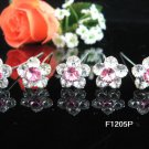 6 pc handmade Wedding accessories;bridal tiara bridesmaid silver floral pink hairpin 1205p