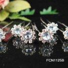 6 pc handmade Wedding accessories;bridal tiara veil ,bridesmaid silver blue hairpin  f1125b