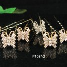 6 pc handmade Wedding hair accessories;bridal golden hairpin bridesmaid alloy butterfly pin f1024g