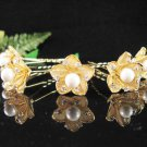 6 pc handmade Wedding hair accessories;bridal golden hairpin bridesmaid alloy pearl floral pin f926g