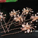 6 pc handmade Wedding hair accessories;bridal rose gold hairpin bridesmaid alloy floral 1085cp
