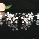 6 pc handmade Wedding hair accessories;bridal silver hairpin bridesmaid pearl floral veil 1529r