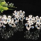 6 pc handmade Wedding hair accessories;bridal hairpin;bridesmaid silver alloy floral comb cn01b