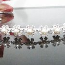 Bridal accessories; wedding handmade silver hair tiara;crystal headpiece;pearl headband cn0028