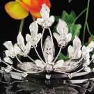 Bridal hair accessories;wedding tiara rhinestone headpiece floral crystal huge regal 1878