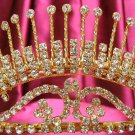 wedding tiara rhinestone headpiece huge golden crystal bridal tiara 524g