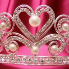 Bridal accessories;wedding tiara;rhinestone headpiece handmade silver pearl alloy regal g244