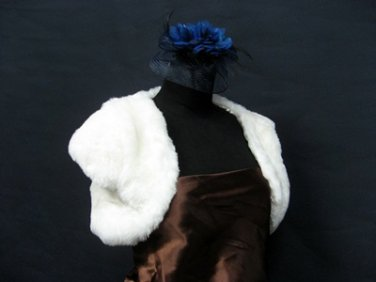 Handmade Bridal accessories;faux fur ivory bolero jacket ;shawl or wrap sh15i
