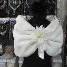 Handmade wedding Faux fur ivory bolero jacket bridal jacket ;shrug ; floral brooch wrap sh07i