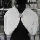 Handmade wedding faux fur ivory bolero jacket ;bridal long jacket ;shrug ;shawl or wrap sh09i