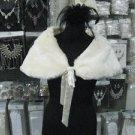 Handmade bridal faux fur ivory bolero jacket ;bridal long jacket ;shrug ;shawl or wrap sh10i