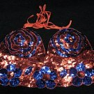 Handmade sexy sequin bar top belly party hippie fashionable floral beaded fringe dance top 07ry