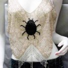 Handmade ivory sexy bar top belly hippie top fashionable spider beaded fringe dance bartop sq12