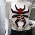 Handmade Sexy sequin bar top belly hippie fashionable spider beaded fringe dance top sq22