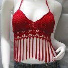 Handmade Crochet sexy sequin bar top; hot belly hippie top fashionable beaded dance top sq14