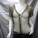 Crochet sexy blouse;top; hot hippie coat top;fashionable beaded handmade wrap shirt top sq41