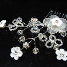 Bridal hair accessories;wedding tiara;rhinestone pearl crystal porcelain floral bridal comb 40134