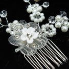 Bridal hair accessories;wedding tiara;rhinestone crystal porcelain floral bridal comb 40135
