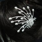 wedding tiara bridal hair accessories rhinestone alloy silver crystal pearl bridal comb NV2644