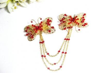 wedding tiara bridal hair accessories rhinestone butterfly crystal alloy golden bridal comb 1375G