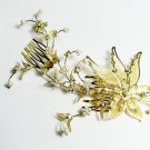 wedding tiara bridal hair accessories rhinestone crystal floral golden bridal comb 3107G