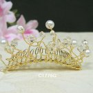 Bridal hair accessories;wedding tiara;rhinestone filigree golden crystal pearl bridal comb 1776G