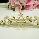 Golden wedding hair accessories bridal tiara , rhinestone floral crystal comb 4936G