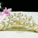 golden Bridal comb hair accessories;wedding tiara;rhinestone headpiece ,floral alloy comb 6580G