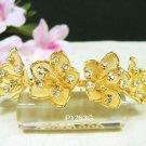 Bridal golden crystal comb hair accessories,floral wedding tiara ,rhinestone headpiece veil 1263G