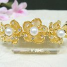 Golden floral crystal bridal comb hair accessories,wedding tiara veil,rhinestone headpiece 1264G