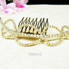 Bridal golden crystal comb hair accessories,wedding tiara,rhinestone headpiece veil 2051G