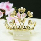 crystal golden small bridal comb hair accessories,wedding tiara ,rhinestone pearl comb TC03G