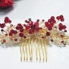 Handmade crystal red bridal comb hair accessories,floral wedding tiara ,rhinestone headpiece1141R