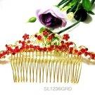 18k golden red Bridal comb bridesmaid hair accessories,wedding tiara 1236R