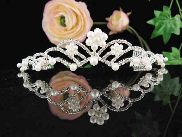 Bridal headband veil,wedding rhinestone accessories,bridal pearl tiara 561