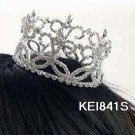 Handmade silver bridal small crown veil,wedding headpiece accessories tiara regal 841s