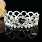 Bridal silver small crown veil,wedding headpiece woman hair accessories tiara regal 2427