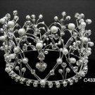 Bridal silver huge crown veil,wedding headpiece woman hair accessories tiara regal 4335