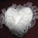 Handmade ivory sweetheart satin bridal ring pillow ribbon veil, bridesmaid wedding accessories r869