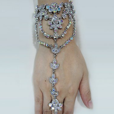Handmade Bridal sparkle crystal rhinestone rhodium alloy bracelet ,wedding party accessories E8005