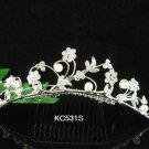 Handmade alloy floral pearl Bridal silver comb veil,wedding tiara headpiece accessories regal  531S