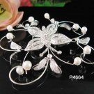 Handmade alloy butterfly silver pearl bridal comb wedding tiara headpiece accessories regal 4664S