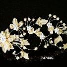 Handmade 18k golden floral pearl bridal comb ,wedding tiara headpiece hair accessories regal  4744g