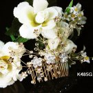 Handmade 18K Golden floral bridal comb ,wedding tiara headpiece accessories regal  485S